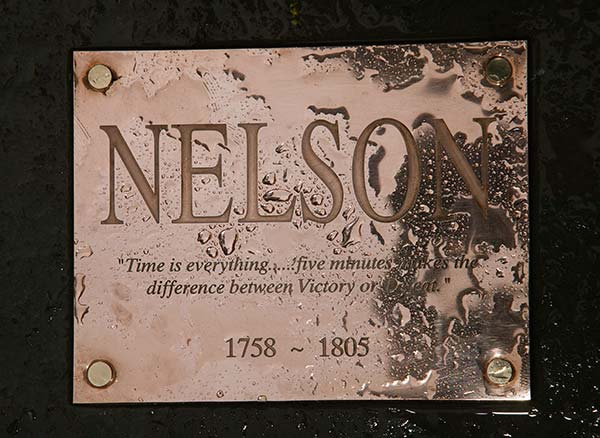 Horatio Nelson Statue Plaque