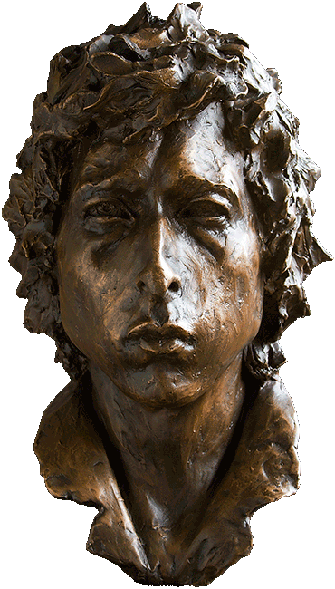 Portrait of Bob Dylan in Bronze - Front