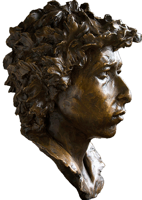 Bronze Portrait of Bob Dylan Side
