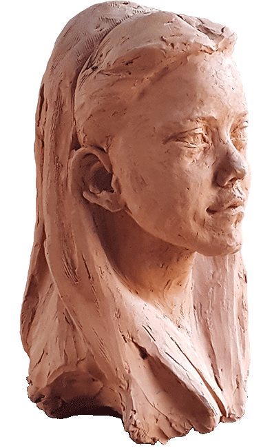 Portrait of Grace in terracotta