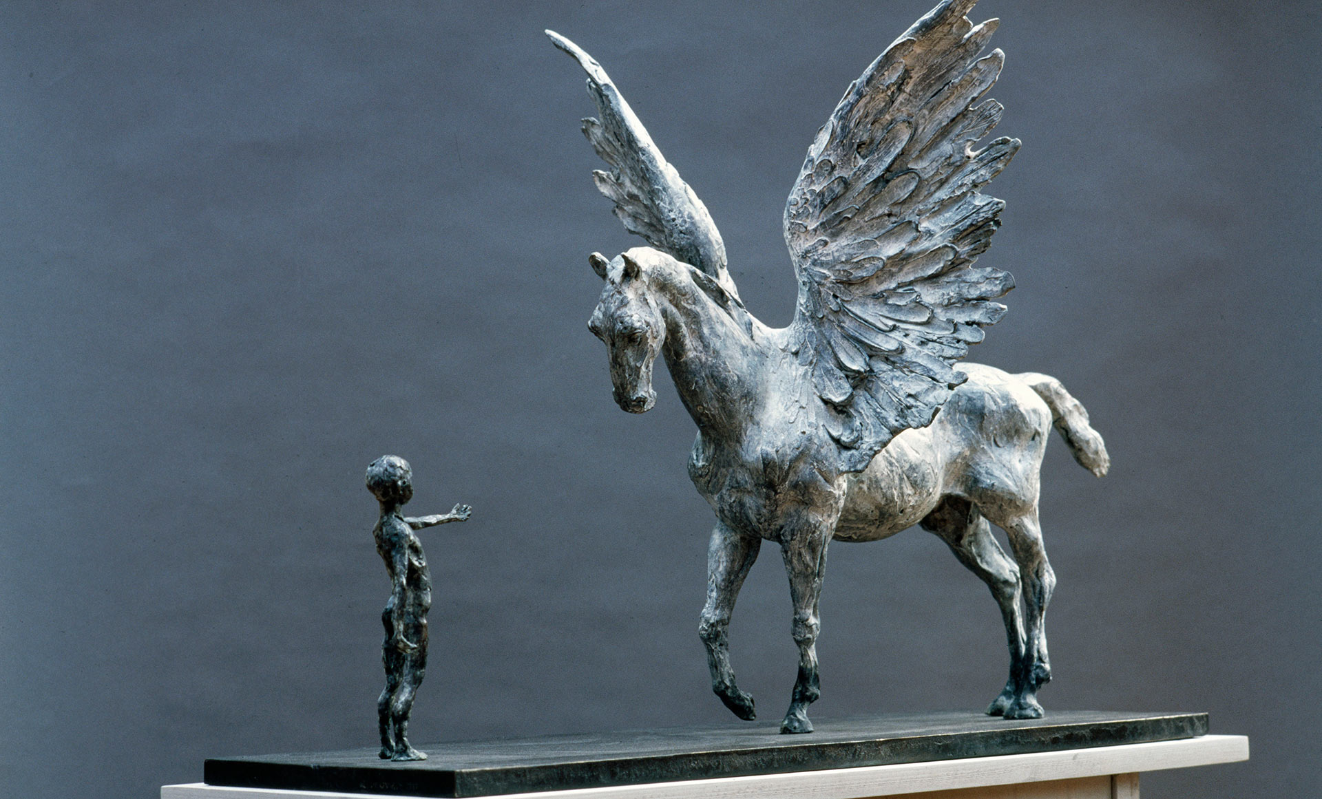 Pegasus And Boy Lesley Pover Sculpture